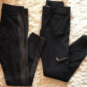 EXPRESS Faux Leather + Moto-Style Leggings